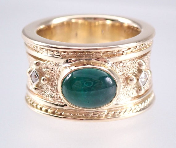 18K Yellow Gold Vintage Estate Emerald and Diamond Cigar Band Ring Size 5.75 FREE Sizing