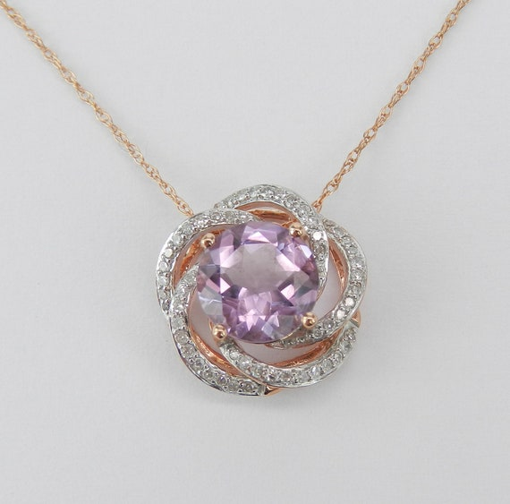 """Diamond and Amethyst Flower Necklace Solitaire Pendant 18"""" Rose Pink Gold Chain"""