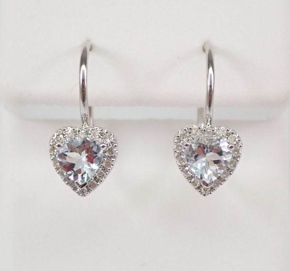 White Gold Diamond and Heart Aquamarine Drop Earrings March Birthstone Leverback