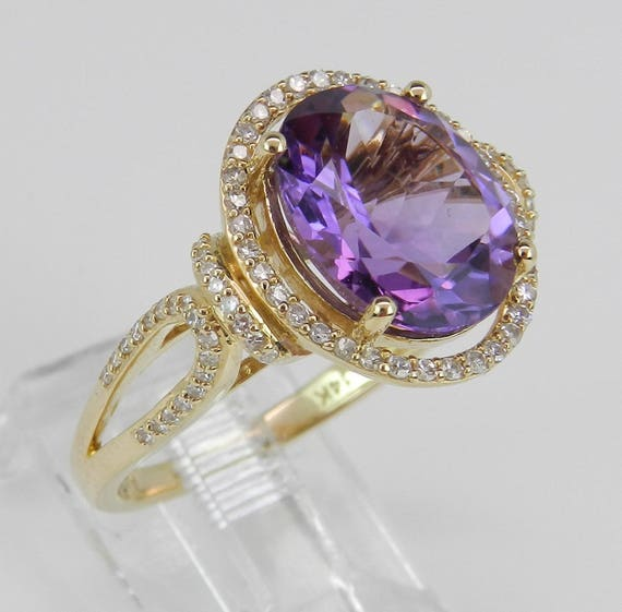 14K Yellow Gold Diamond and Amethyst Halo Engagement Ring FREE Sizing