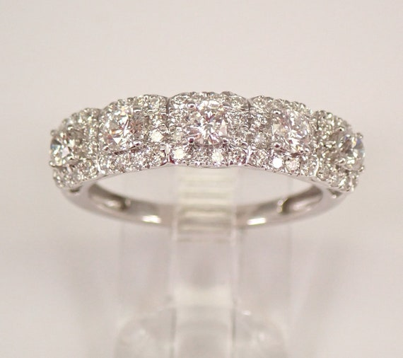 Diamond Halo Wedding Ring Stackable Anniversary Band 14K White Gold Size 7