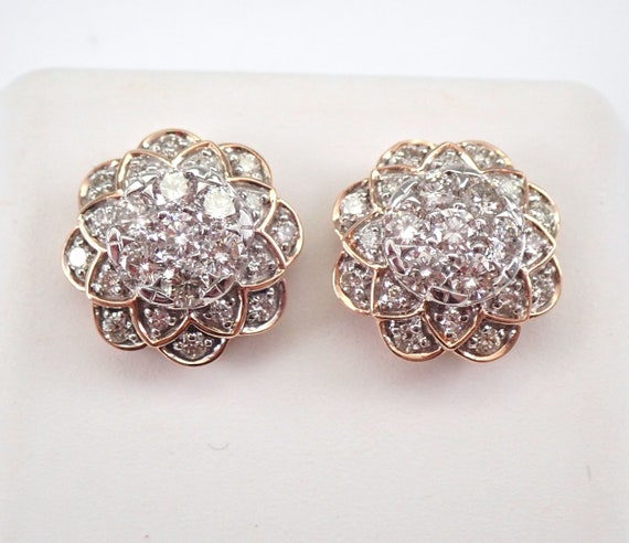 14K Rose Gold 1.00 ct Diamond Studs Round Flower Cluster Halo Stud Earrings