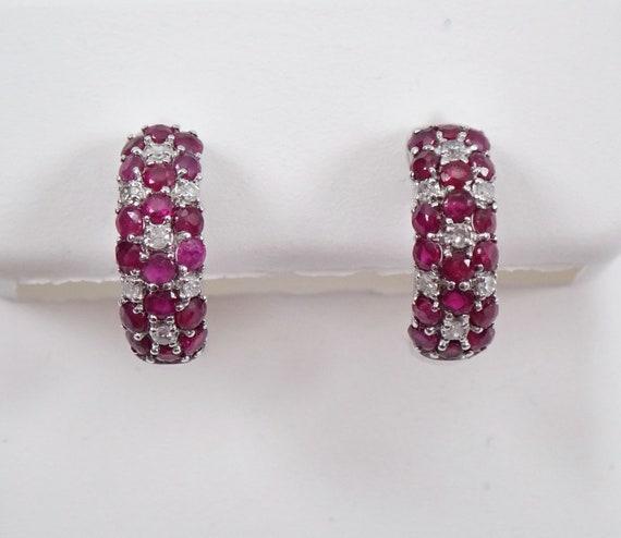 14K White Gold Diamond and Ruby Hoop Earrings Flower Cluster Hoops July Gemstone