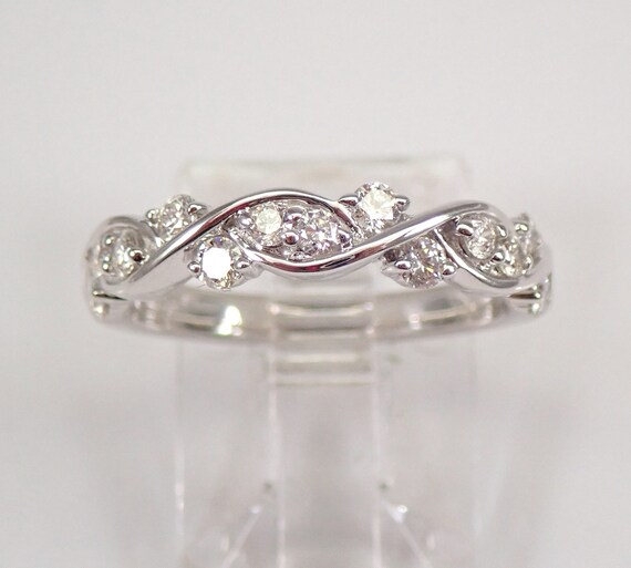 Diamond Wedding Ring Stackable Anniversary Band 14K White Gold Size 5.5 FREE SIZING