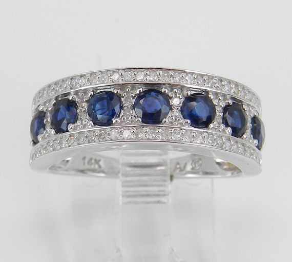 Diamond and Sapphire Wedding Ring Anniversary Band 14K White Gold Size 7 September Birthstone