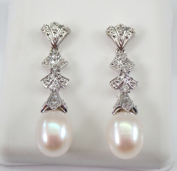 Pearl and Diamond Dangle Drop Earrings 14K White Gold June Birthstone Wedding Gift