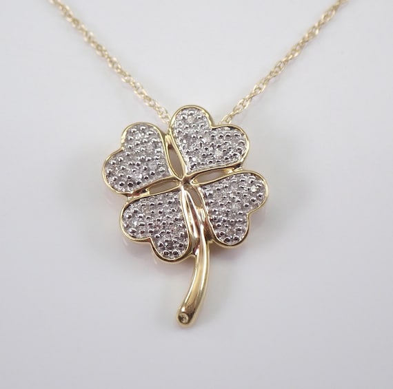 "Diamond Four Leaf Clover Necklace Cluster Pendant Yellow Gold 18"" Chain GOOD LUCK"