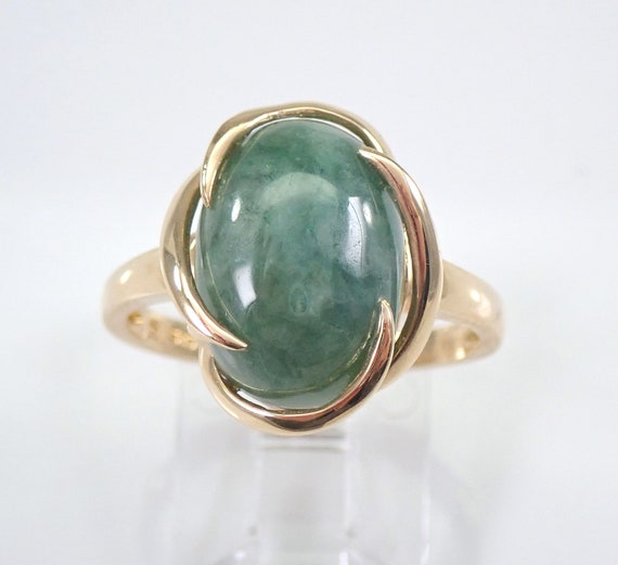 Jade Ring, 14K Yellow Gold Ring, Jade Solitaire Ring, Engagement Promise Right Hand Ring, Green Jade, Vintage Style Ring, Size 8