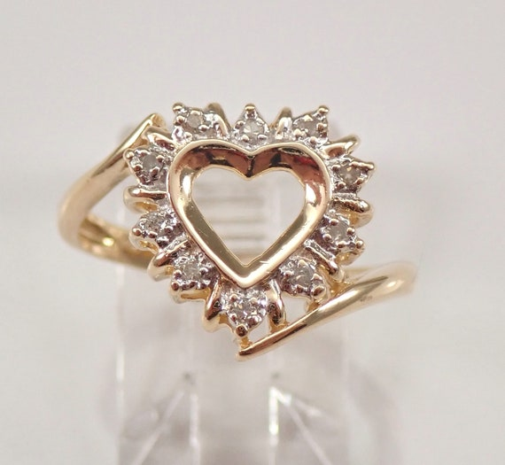Vintage Estate 14K Yellow Gold Diamond Heart Ring Statement Right Hand Ring Size 7.25 FREE Sizing