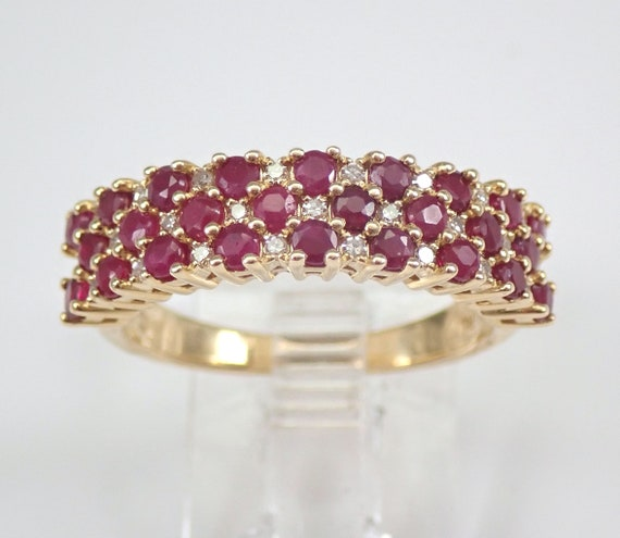 14K Yellow Gold Ruby and Diamond Wedding Ring Anniversary Band Size 7 July Gemstone FREE Sizing