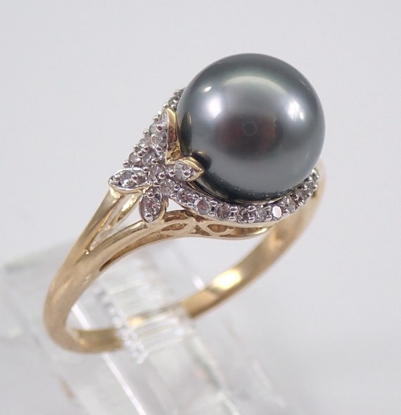 Yellow Gold Diamond and Black Pearl Engagement Ring Butterfly Ring June Size 6.75 FREE Sizing