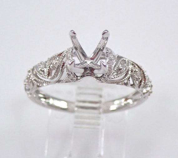 18K White Gold Diamond Engagement Ring Setting Semi Mount Size 7