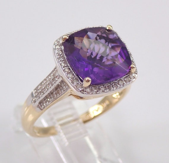 Yellow Gold Diamond and Cushion-Cut Amethyst Halo Engagement Ring Size 7 February Gemstone FREE Sizing