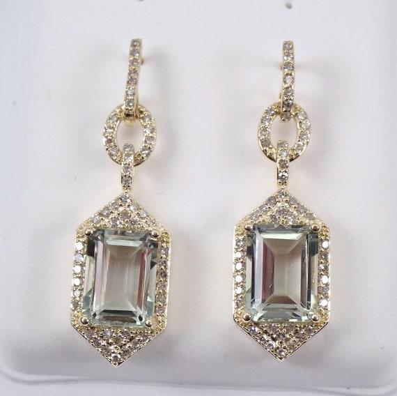 Diamond and Green Amethyst Dangle Drop Earrings 14K Yellow Gold Emerald Cut