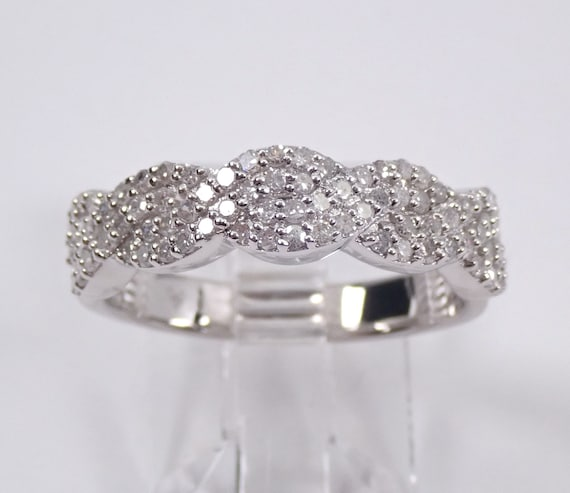 White Gold 1/2 ct Diamond Wedding Ring Anniversary Band Stackable Size 7
