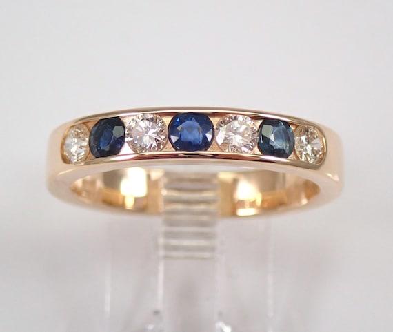 Men's Diamond and Sapphire Wedding Ring Anniversary Band 14K Yellow Gold Size 9