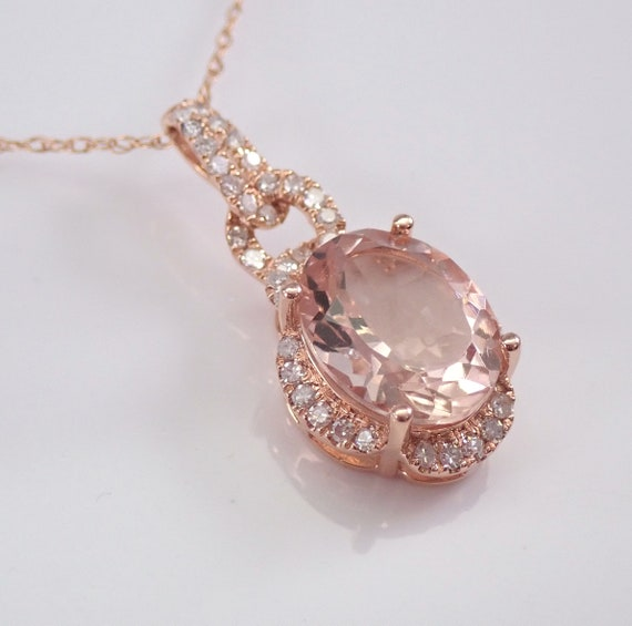 "2.35 ct Morganite and Diamond Drop Pendant Necklace 18"" Chain 14K Rose Pink Gold Wedding Gift"