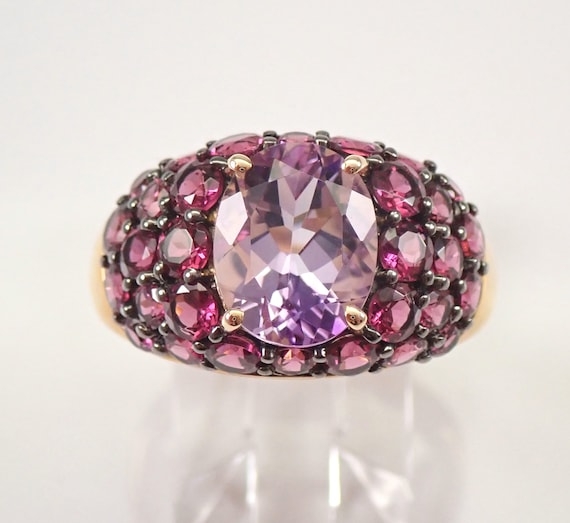 14K Yellow Gold 4.25 ct Amethyst and Rhodolite Garnet Engagement Ring Size 8
