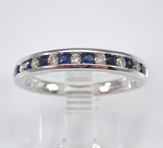 Diamond and Sapphire Wedding Ring Anniversary Band White Gold Size 7 Stackable FREE Sizing