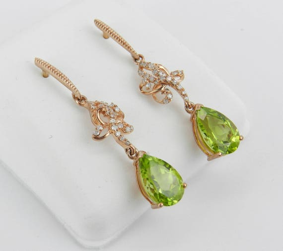 SUPER SALE! Diamond and Peridot Dangle Drop Earrings Rose Pink Gold August Gemstone