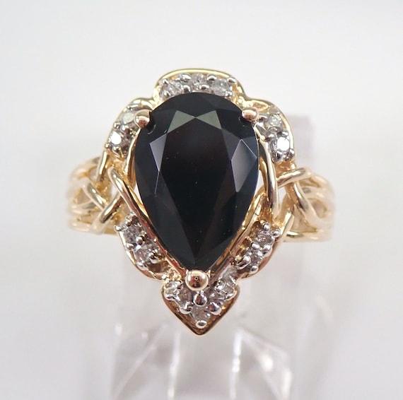 Vintage Estate Onyx and Diamond Ring 14K Yellow Gold Circa 1970's Size 6