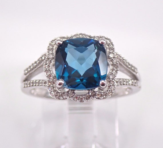Cushion Cut London Blue Topaz and Diamond Halo Engagement Ring White Gold Size 7 December Birthstone FREE Sizing