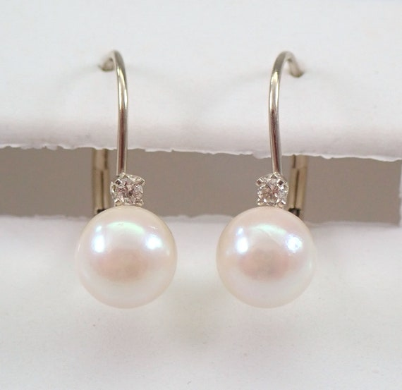 Pearl and Diamond Drop Earrings 14K White Gold Leverback Clasp June Birthday