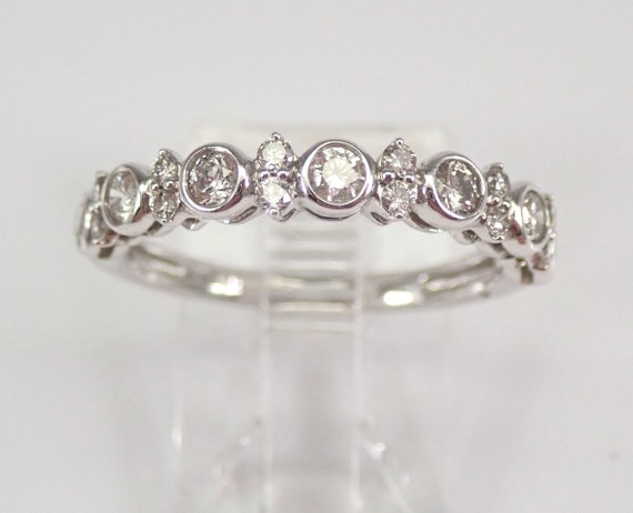 White Gold Bezel Set Diamond Wedding Ring Anniversary Band Size 7 FREE SIZING
