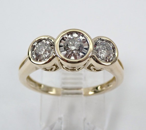 Yellow Gold Three Stone Diamond Engagement Ring Bezel Set Size 7 Past Present Future