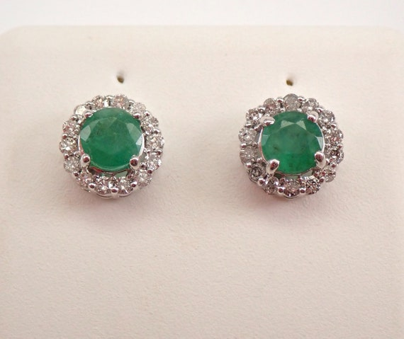 1.25 ct Emerald and Diamond Stud Earrings Halo Studs White Gold May Birthstone