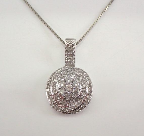 "Diamond Cluster Pendant White Gold Diamond Wedding Necklace Chain 18"""