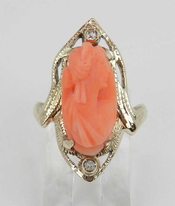 Antique Cameo Ring, Coral and Diamond Ring, Victorian Yellow Gold Ring, Coral Cameo, Vintage Cameo Ring, Size 4.5