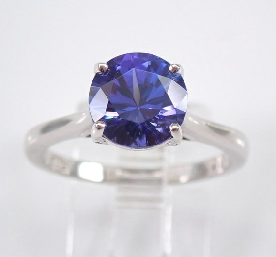 White Gold Tanzanite and Diamond Solitaire Engagement Ring Size 7 December Gem