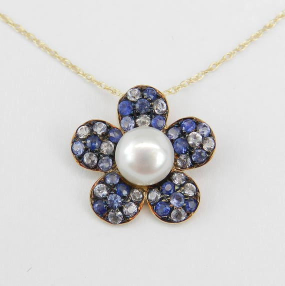 "Sapphire and Pearl Necklace, 14K Yellow Gold Pearl and Sapphire Flower Pendant Necklace Chain 18"" June and September Gem"