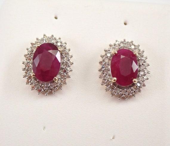 Yellow Gold Ruby and Diamond Halo Stud Earrings 1.35 ct Studs July Gemstone