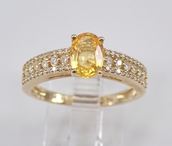 Yellow Sapphire and Diamond Engagement Ring Gold Promise Ring Size 7 FREE SIZING