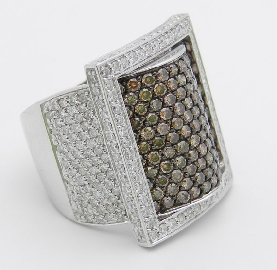 18K White Gold Buckle Ring, 4.02 ct Cognac and White Diamond Ring, Diamond Cluster Ring, Diamond Buckle Belt Band, Large Brown Diamond Ring
