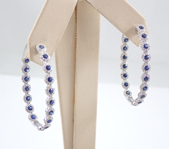 Diamond and Sapphire Inside Out Hoop Earrings Hoops 14K White Gold Halo Design