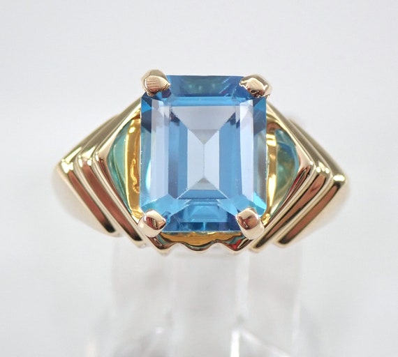 14K Yellow Gold Emerald Cut Blue Topaz Solitaire Engagement Ring Size 6.5 FREE Sizing