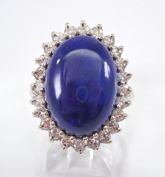 Vintage Antique 14K White Gold Diamond and Lapis Lazuli Cocktail Ring Size 6