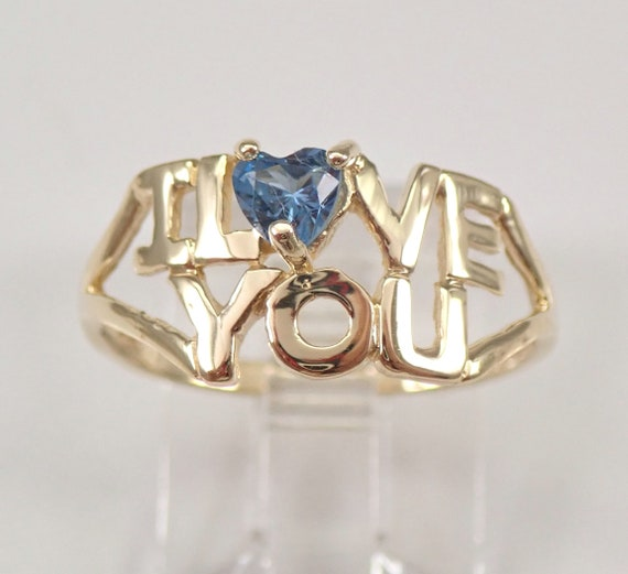 Vintage Yellow Gold Heart Blue Topaz Solitaire I LOVE YOU Ring Size 6.75