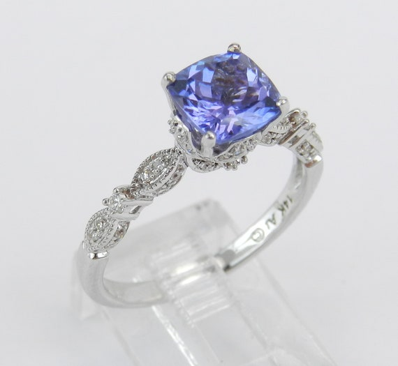 Antique Style Engagement Ring, Diamond and Tanzanite Ring, 14K White Gold Ring, Tanzanite Engagement Ring, Purple Gemstone Ring