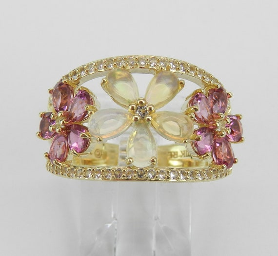 Yellow Gold Opal Pink Tourmaline White Sapphire Flower Cluster Cocktail Ring Size 7 October Gem