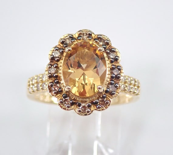 Yellow Topaz and Fancy Cognac Diamond Halo Flower Engagement Ring 14K Gold Size 7 FREE Sizing