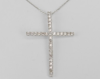 "14K White Gold 1.01 ct Diamond CROSS Pendant Necklace Religious Charm 18"" Chain"