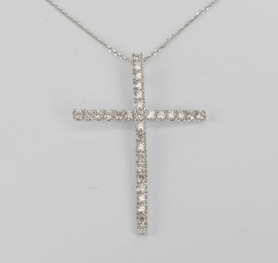 "14K White Gold 1.01 ct Diamond CROSS Pendant Necklace, Religious Jewelry Charm 18"" Chain"