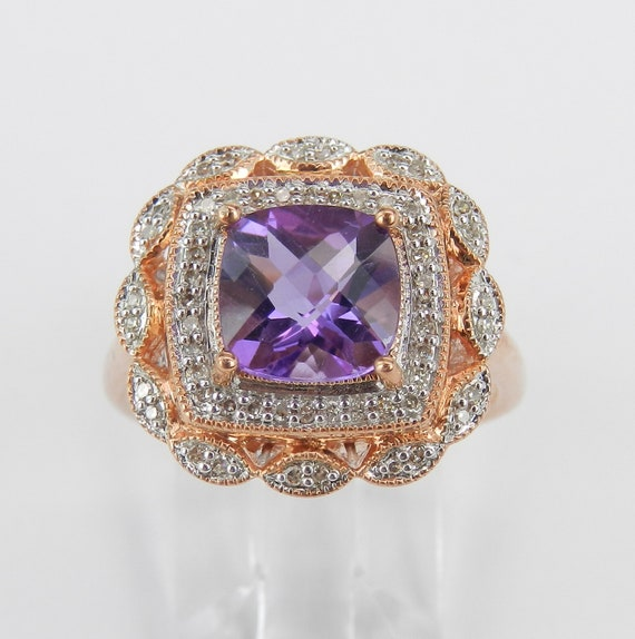 Amethyst and Diamond Ring, Rose gold Halo Ring, Cushion Cut Amethyst Ring, Halo Engagement Ring, February Birthstone Ring