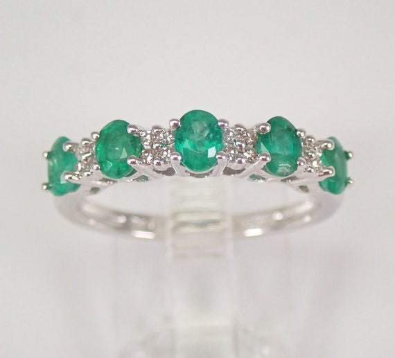 Diamond and Emerald Wedding Ring Anniversary Band White Gold Size 7 Oval Gems