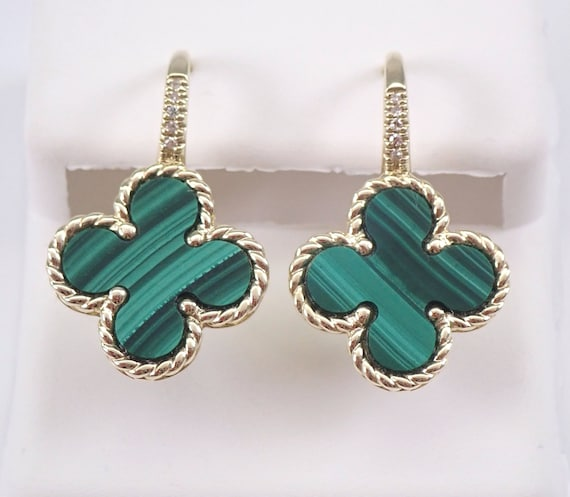 Malachite and Diamond Clover Shape Drop Earrings 14K Yellow Gold Leverback Green Gemstone