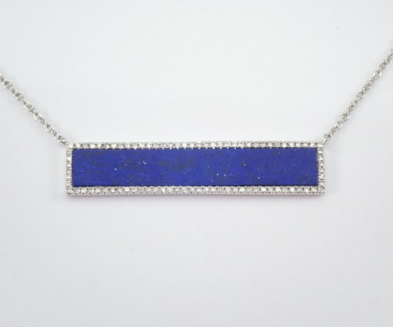 "14K White Gold Diamond and Lapis Lazuli Bar Necklace 18.5"" Chain"